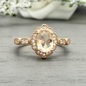Rose Gold Oval Morganite Sterling Silver CZ Ring